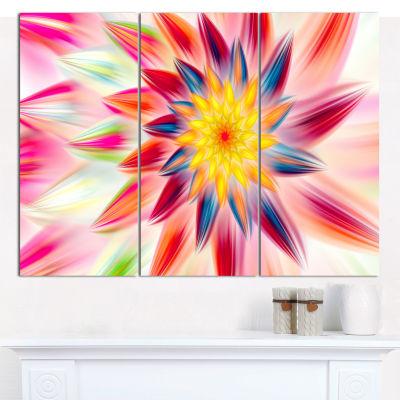 Designart Pink Dancing Flower Petals Floral CanvasArt Print - 3 Panels