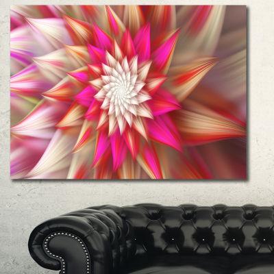 Designart Pink Exotic Fractal Flower Abstract Canvas Art Print