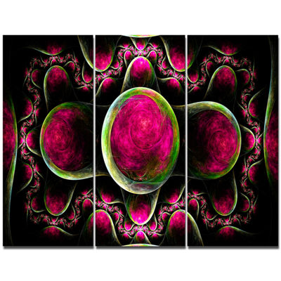 Designart Pink Exotic Fractal Pattern Abstract ArtOn Canvas - 3 Panels