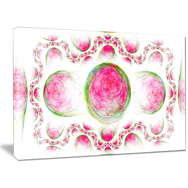 Designart Pink Exotic Pattern On White Abstract Art On Canvas