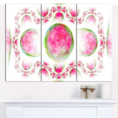 Designart Pink Exotic Pattern On White Abstract Art On Canvas - 3 Panels