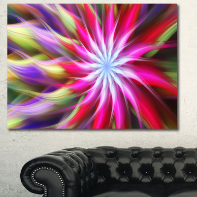 Designart Pink Flower Dance Bright Spiral Floral Canvas Art Print