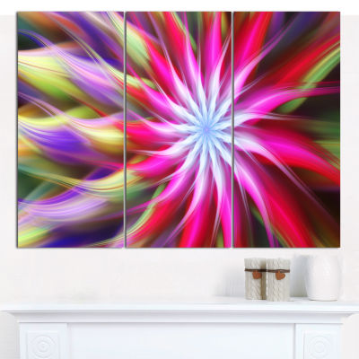 Designart Pink Flower Dance Bright Spiral Floral Canvas Art Print - 3 Panels