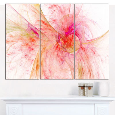 Designart Pink Fractal Abstract Illustration Abstract Canvas Art Print - 3 Panels