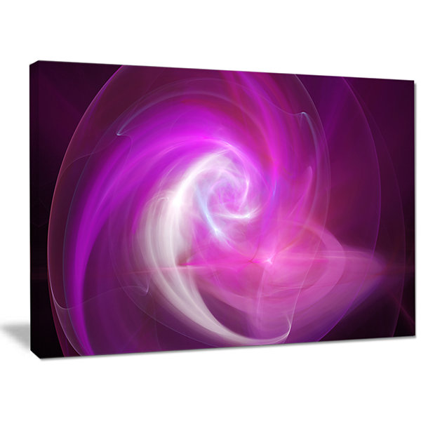Designart Pink Fractal Abstract Illustration Abstract Canvas Wall Art