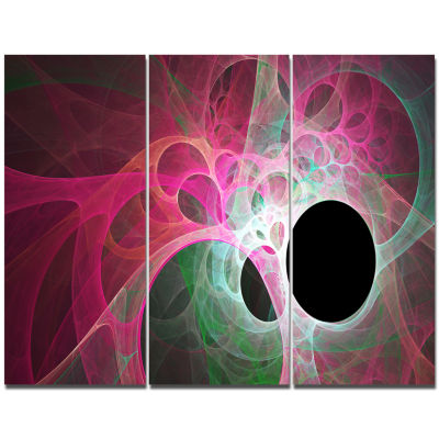 Designart Pink Fractal Angel Wings Abstract Wall Art Canvas - 3 Panels