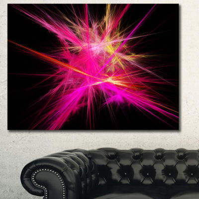 Designart Pink Fractal Chaos Multicolored Rays Abstract Canvas Wall Art