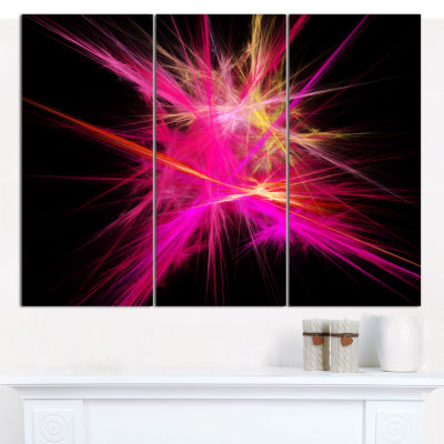 Designart Pink Fractal Chaos Multicolored Rays Abstract Canvas Wall Art - 3 Panels