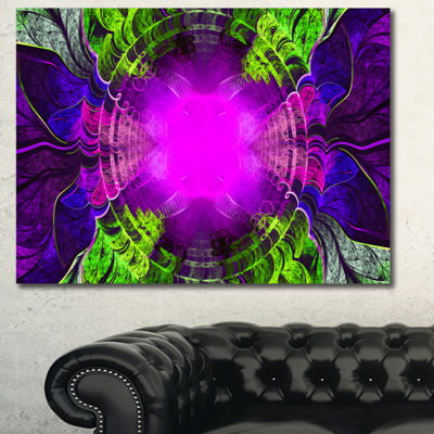 Designart Pink Fractal Circles And Curves AbstractCanvas Art Print