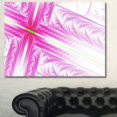 Designart Pink Fractal Cross Design Abstract Canvas Art Print