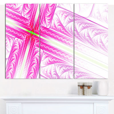 Designart Pink Fractal Cross Design Abstract Canvas Art Print - 3 Panels