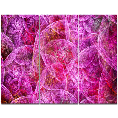 Designart Pink Fractal Dramatic Clouds Abstract Canvas Wall Art - 3 Panels