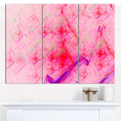 Designart Pink Fractal Electric Lightning AbstractArt On Canvas - 3 Panels