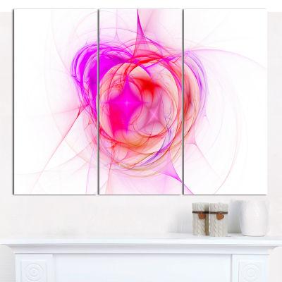 Designart Pink Fractal Explosion Supernova Abstract Canvas Art Print - 3 Panels