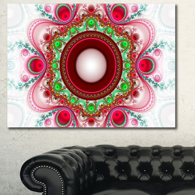 Designart Pink Fractal Pattern With Circles Abstract Canvas Art Print