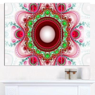 Designart Pink Fractal Pattern With Circles Abstract Canvas Art Print - 3 Panels