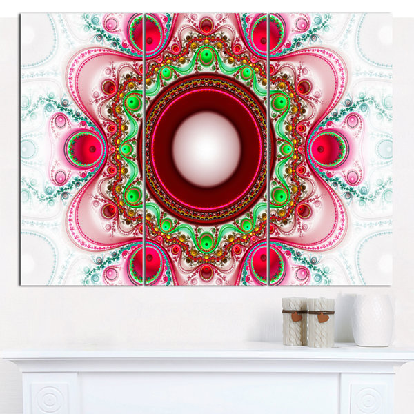Designart Pink Fractal Pattern With Circles Abstract Canvas Art Print - 3 Panels