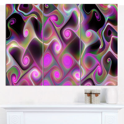 Designart Pink Fractal Pattern With Swirls Abstract Wall Art Canvas - 3 Panels