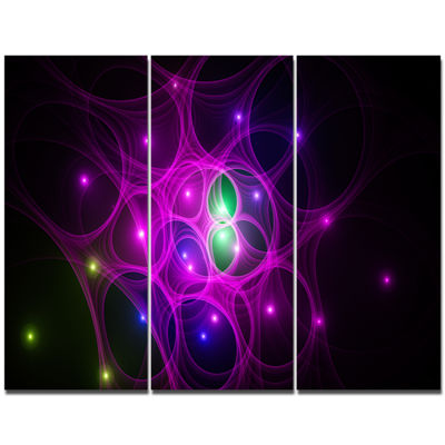 Designart Pink Fractal Space Circles Abstract Canvas Art Print - 3 Panels