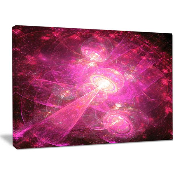 Designart Pink Fractal Space Theme Abstract CanvasArt Print