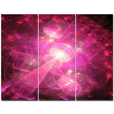 Designart Pink Fractal Space Theme Abstract CanvasArt Print - 3 Panels