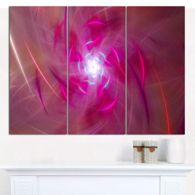 Designart Pink Fractal Whirlpool Design Abstract Wall Art Canvas - 3 Panels