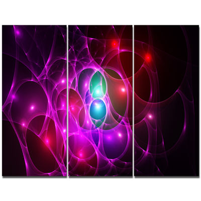 Designart Pink Glowing Bubbles Time Abstract WallArt Canvas - 3 Panels