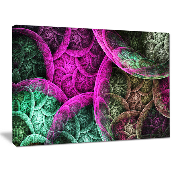 Designart Pink Green Dramatic Clouds Abstract Canvas Wall Art