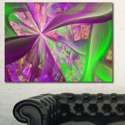 Designart Pink Green Fractal Curves Abstract Canvas Art Print