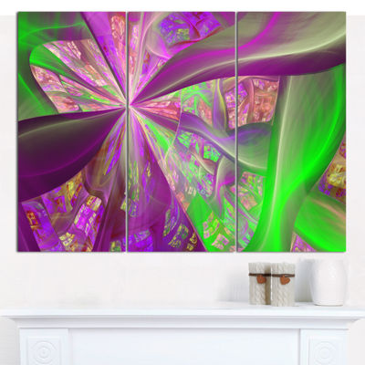 Designart Pink Green Fractal Curves Abstract Canvas Art Print - 3 Panels