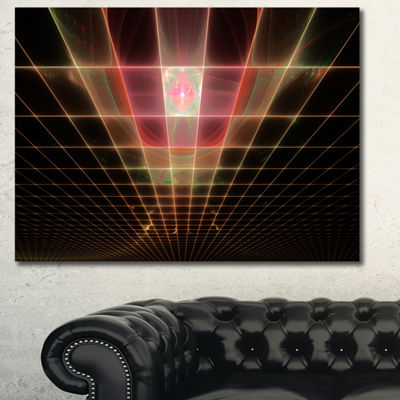 Designart Pink On Black Laser Protective Grids Abstract Canvas Art Print