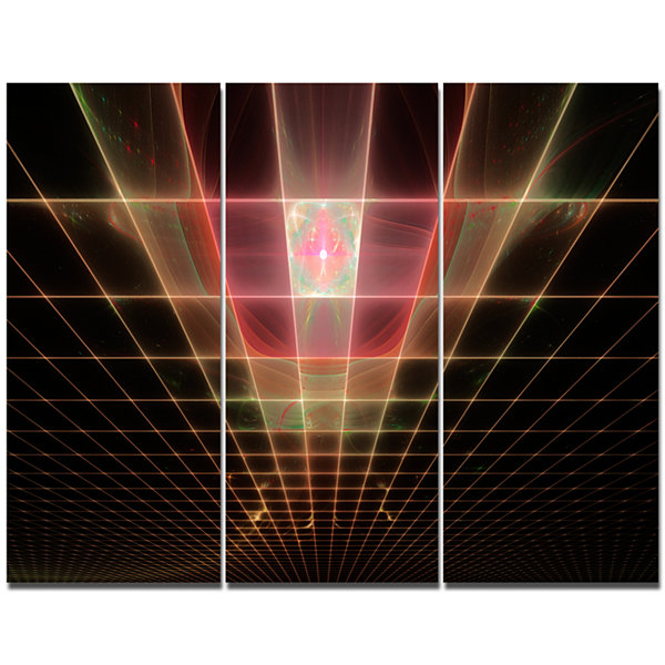 Designart Pink On Black Laser Protective Grids Abstract Canvas Art Print - 3 Panels