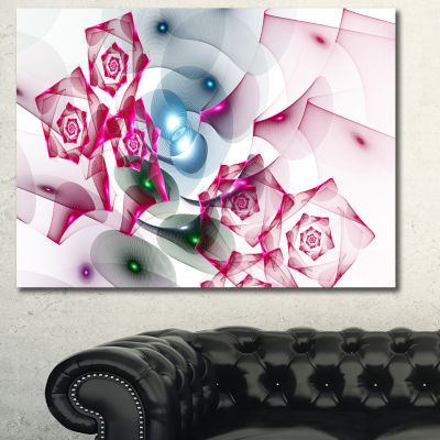 Designart Pink Roses Fractal Design Abstract Canvas Art Print