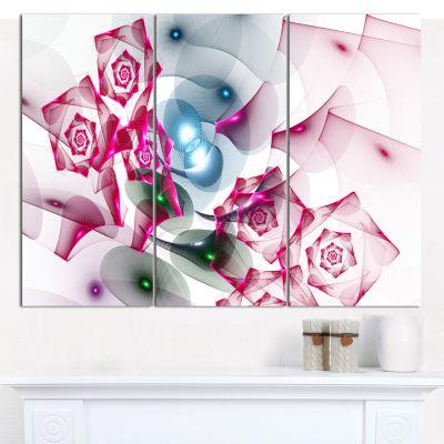 Designart Pink Roses Fractal Design Abstract Canvas Art Print - 3 Panels