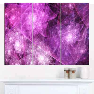 Designart Pink Rotating Polyhedron Abstract CanvasArt Print - 3 Panels