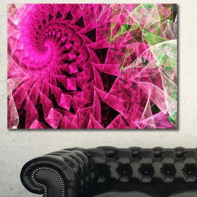 Designart Pink Spiral Kaleidoscope Abstract Wall Art Canvas