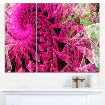 Designart Pink Spiral Kaleidoscope Abstract Wall Art Canvas - 3 Panels