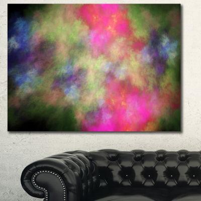 Designart Pink Starry Fractal Sky Abstract CanvasArt Print