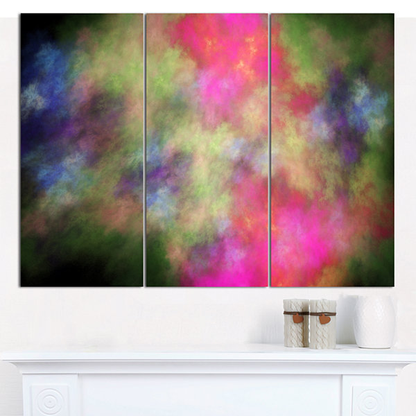 Designart Pink Starry Fractal Sky Abstract CanvasArt Print - 3 Panels