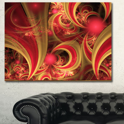 Designart Pink Symmetrical Fractal Pattern FloralCanvas Art Print