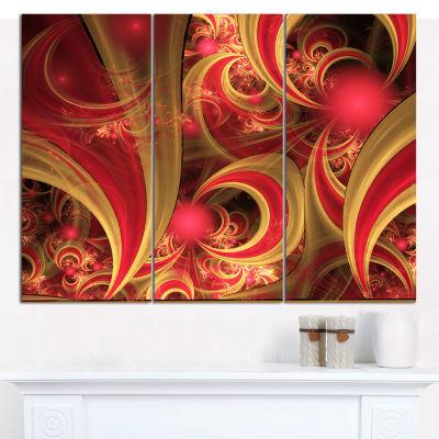 Designart Pink Symmetrical Fractal Pattern FloralCanvas Art Print - 3 Panels