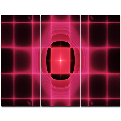 Designart Pink Thermal Infrared Visor Abstract Canvas Art Print - 3 Panels