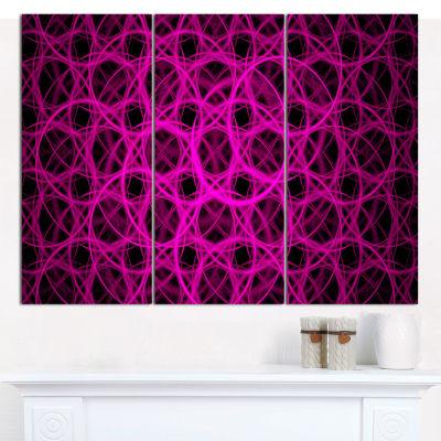 Designart Pink Unusual Fractal Metal Grill Abstract Canvas Wall Art - 3 Panels
