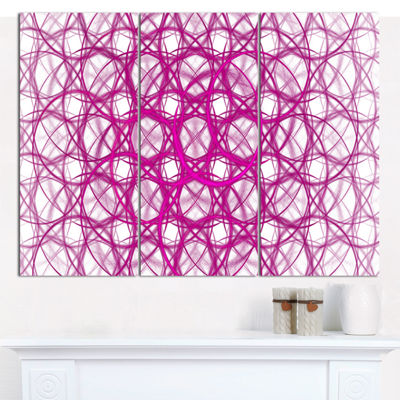 Designart Pink Unusual Metal Grill Abstract CanvasWall Art - 3 Panels