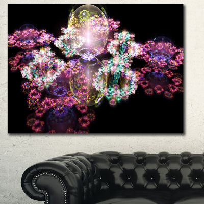 Designart Pink Water Drops On Mirror Abstract Canvas Art Print