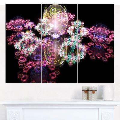Designart Pink Water Drops On Mirror Abstract Canvas Art Print - 3 Panels