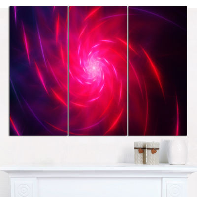 Designart Pink Whirlpool Fractal Spirals AbstractArt On Canvas - 3 Panels