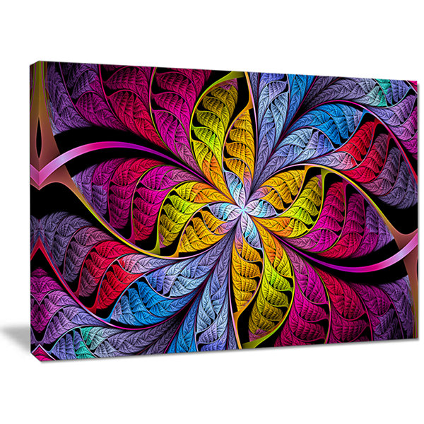Designart Pink Yellow Fractal Stained Glass Abstract Canvas Art Print