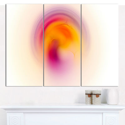 Designart Pink Yellow Luminous Misty Sphere Abstract Canvas Art Print - 3 Panels