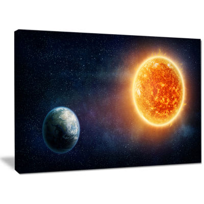 Designart Planet Earth And Sun Landscape Canvas Art Print